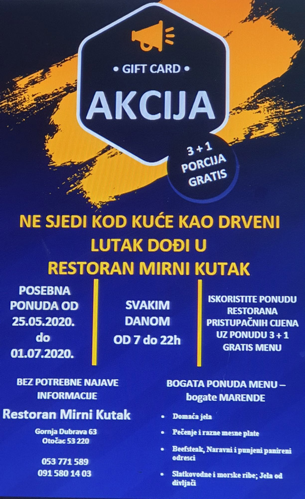(Hrvatski) Posebna ponuda u restoranu Mirni Kutak